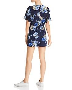 AQUA - Floral Tie-Front Romper - 100% Exclusive