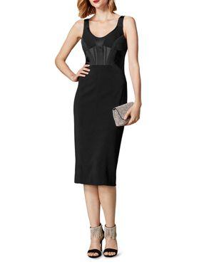 KAREN MILLEN Piped Bustier Midi Dress in Black