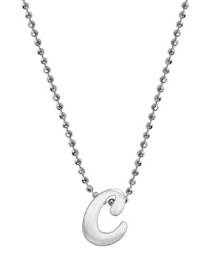 ALEX WOO Little Autograph Initial Pendant Necklace In Sterling Silver, 16 in Silver/C