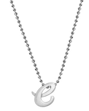 ALEX WOO Little Autograph Initial Pendant Necklace In Sterling Silver, 16 in Silver/E