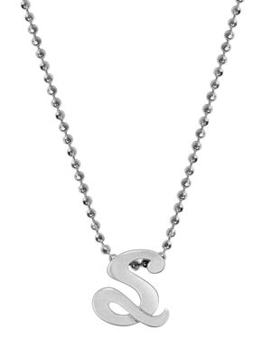 ALEX WOO Little Autograph Initial Pendant Necklace In Sterling Silver, 16 in Silver/S