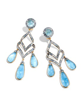 JOHN HARDY - 18K Yellow Gold Cinta Collection One-of-a-Kind Aquamarine Modern Chain Earrings with Light Blue Sapphire, Swiss Blue Topaz & Diamond - 100% Exclusive