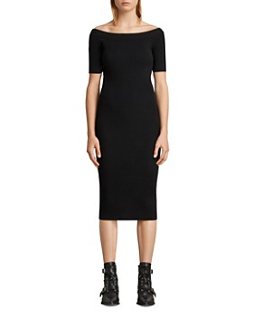 ALLSAINTS - Lavine Rib-Knit Off-the-Shoulder Dress