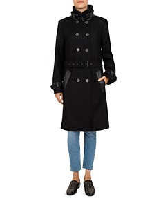 The Kooples - Leather-Trimmed Belted Double Breasted Coat