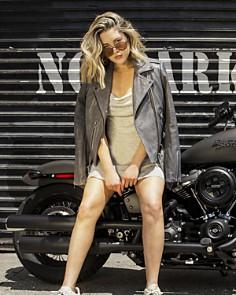 BAGATELLE.NYC - Pebbled Leather Biker Jacket