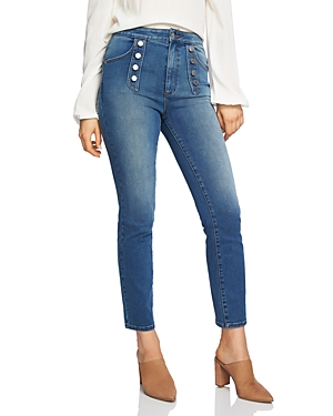 1.state Button-Front Skinny Jeans in Mid Authentic