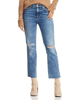 7 For All Mankind - Edie Distressed Straight Jeans in Pretty Vintage Blue