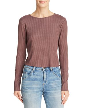 MICHELLE BY COMUNE Michelle By Comune Zuma Ribbed Crop Top in Frosted Fig