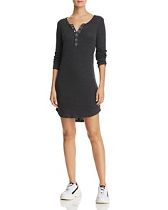 CHASER - Henley Rib-Knit Dress