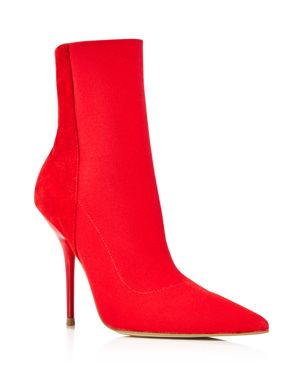 AQUA Women'S Mine Suede & Stretch Stiletto Booties - 100% Exclusive in Red