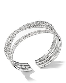 David Yurman - Paveflex Three-Row Bracelet with Diamonds in 18K White Gold