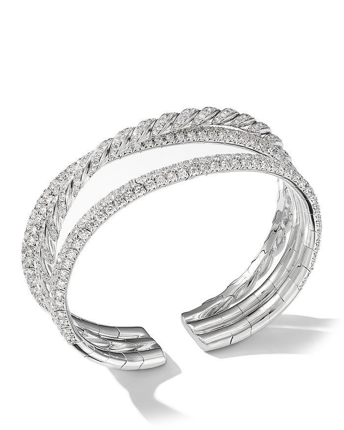 David Yurman - Paveflex Three-Row Bracelet with Diamonds in 18K White Gold