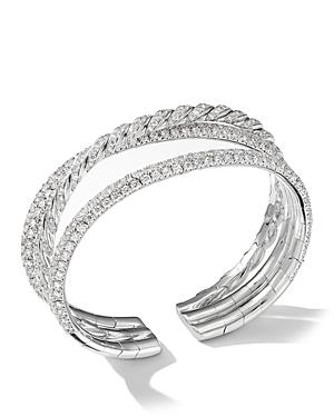 David Yurman Paveflex Three-Row Bracelet with Diamonds in 18K White Gold