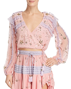 Rococo Sand EMBELLISHED SILK CROPPED TOP
