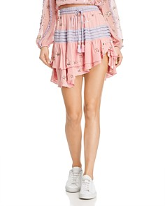 Rococo Sand - Embellished Tiered Mini Skirt
