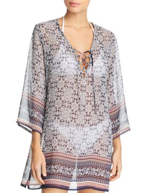 J. VALDI Islander Lace-Up Tunic Swim Cover-Up in Navy/Coral