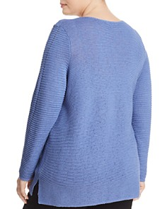NIC and ZOE Plus - Ribbed Asymmetric Button Sweater