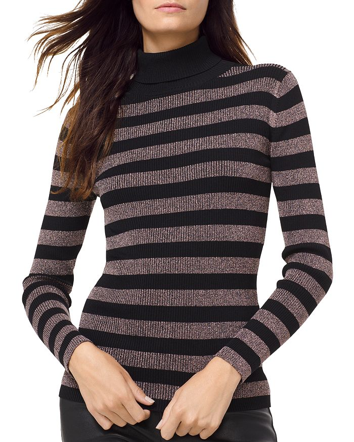 149a202c286 MICHAEL Michael Kors MICHAEL Metallic Striped Turtleneck Sweater ...