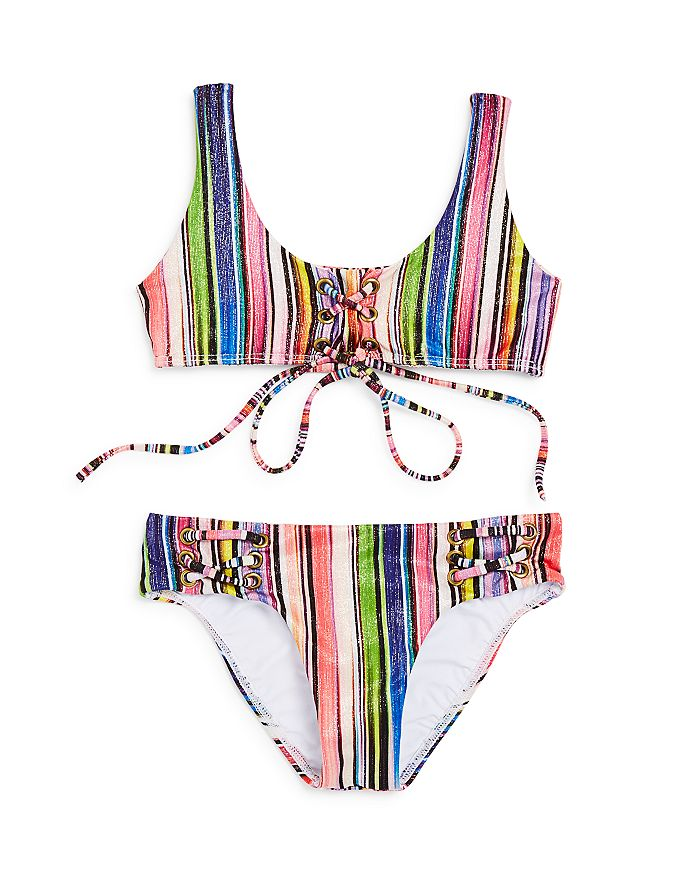 PilyQ - Girls' Retro-Striped 2-Piece Shimmer Swimsuit - Little Kid, Big Kid