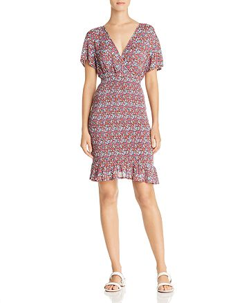 AQUA - Smocked Floral Print Dress - 100% Exclusive