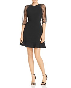 Laundry by Shelli Segal - Mesh Sleeve Fit-and-Flare Dress