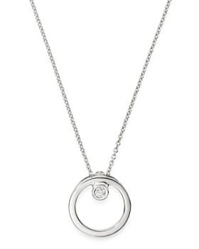 "Roberto Coin - 18K White Gold Circle Pendant Necklace with Diamond, 18"""