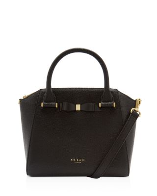 Janne Bow Detail Pebbled Leather Zip Tote by Ted Baker