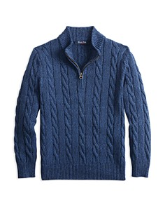 Brooks Brothers - Boys' Half-Zip Cotton Cable Sweater - Big Kid