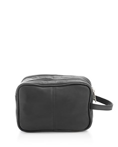 ROYCE New York - Colombian Vaquetta Leather Double Zip Toiletry Travel Bag