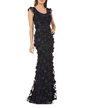 Carmen Marc Valvo Infusion -  Floral Appliqué Cap Sleeve Gown