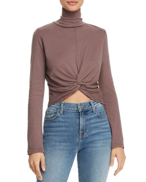 MICHELLE BY COMUNE Michelle By Comune Racine Twist-Front Cropped Turtleneck Tee in Frosted Fig
