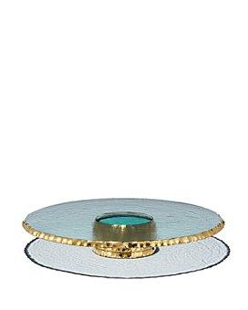 Annieglass - Edgey Platinum Pedestal Cake Plate