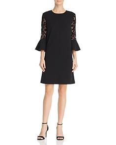 nanette Nanette Lepore - Lace Sleeve Stretch Crepe Shift Dress
