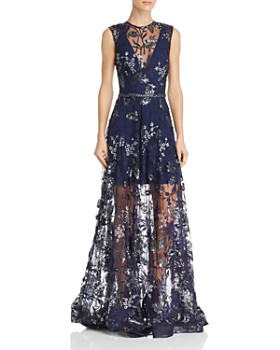 BRONX AND BANCO - Aurora Embroidered Illusion Gown