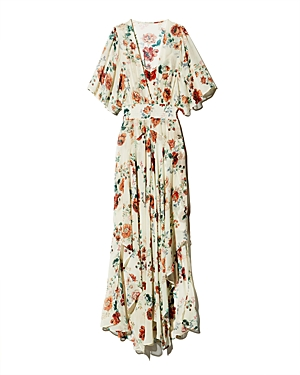 Maje Dresses RACHELLE ASYMMETRIC FLORAL-PRINT MAXI DRESS