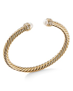 David Yurman - Cable Bracelet in 18K Yellow Gold with Pearls & Diamonds