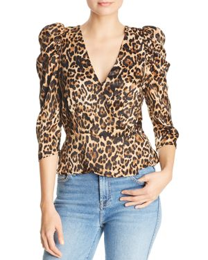 LUCY PARIS Drew Puff-Sleeve Leopard Wrap Top
