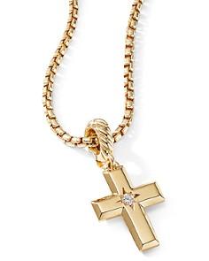 David Yurman - Cross Pendant in 18K Yellow Gold with Diamonds