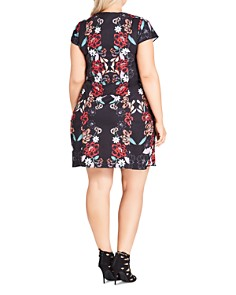 City Chic Plus - Mirrored Floral Print Tunic