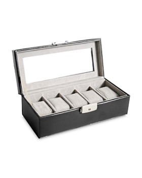ROYCE New York - 5-Slot Leather Watch Box Display Case
