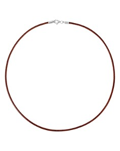 """TOUS - Sterling Silver & Brown Leather Choker Necklace, 15.75"""""""