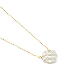 TOUS - 18K Yellow Gold Mosaic Mother-Of-Pearl Pendant Necklace, 16.5""