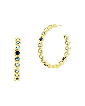 Freida Rothman Imperial Blue Bezel Set Hoop Earrings in 14K Gold-Plated Sterling Silver