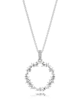 """PANDORA - Sterling Silver & Cubic Zirconia Shards of Sparkle Pendant Necklace, 17.72"""""""