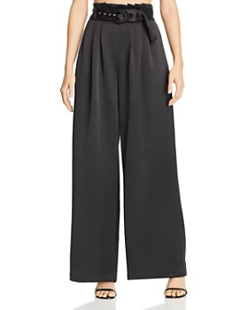 Bec & Bridge - Claudia Pleated Satin Wide-Leg Pants