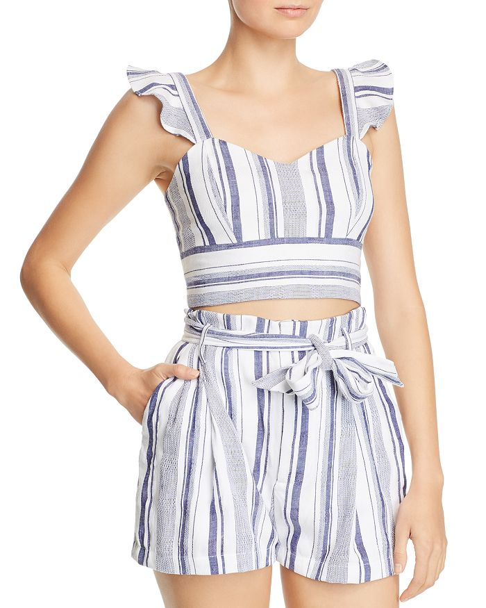 Parker - Ibiza Striped Cotton Cropped Top