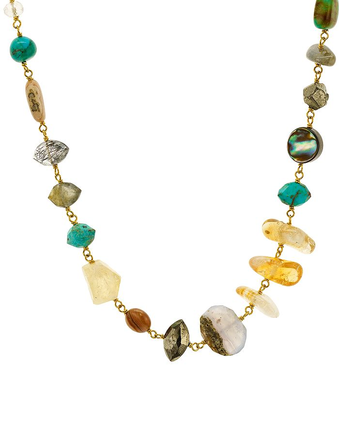 Chan Luu MULTICOLOR STONE STATEMENT NECKLACE IN 18K GOLD-PLATED STERLING SILVER, 15