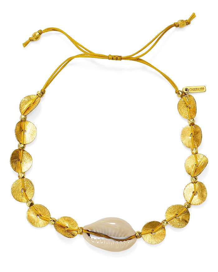 Chan Luu - Sequin & Shell Adjustable Bracelet in 18K Gold-Plated Sterling Silver