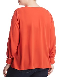 VINCE CAMUTO Plus - Pleated V-Neck Top Blouse