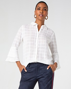 Liverpool - Textured Bell-Sleeve Blouse